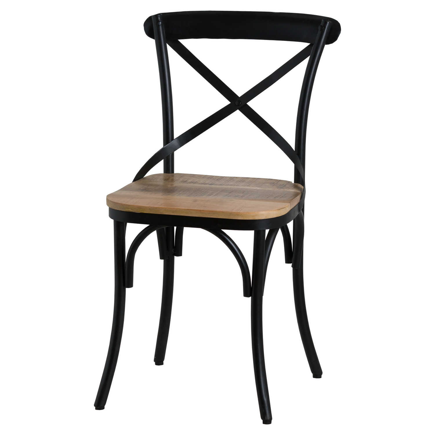 Cross Back Black Metal Dining Chair With Hardwood Seat ...