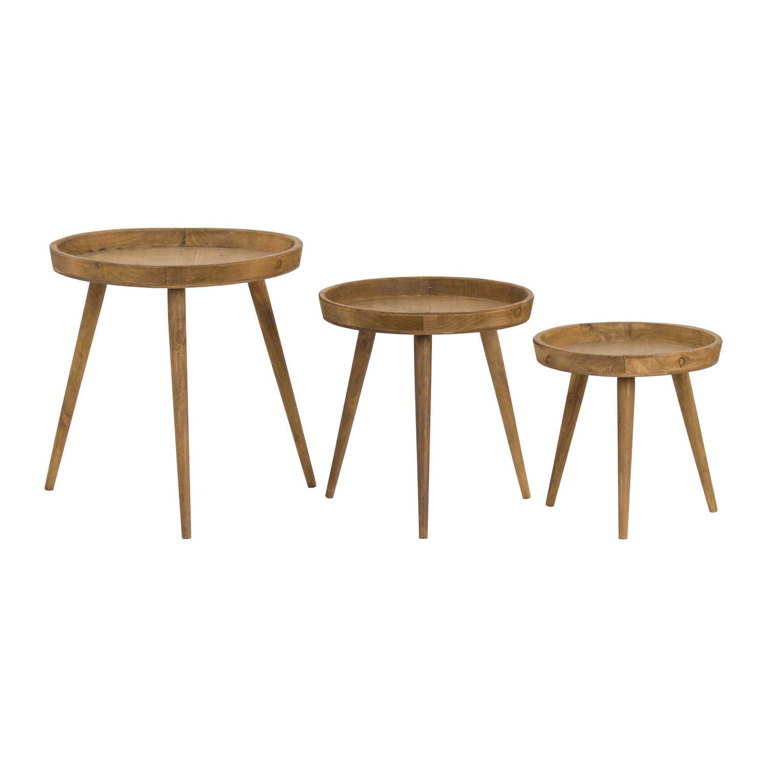 Loft Collection Set Of 3 Round Wooden Table From Baytree Interiors