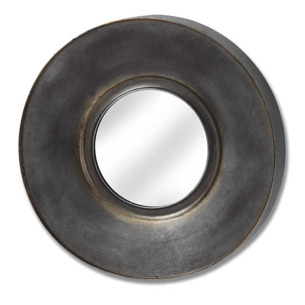 Antique Bronze Round Mirror With Patina Effect