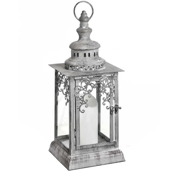 Antique Distressed Grey Lantern with Lattice Detailing