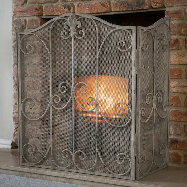 Antique French Inspired Firescreen With Scroll Detailing