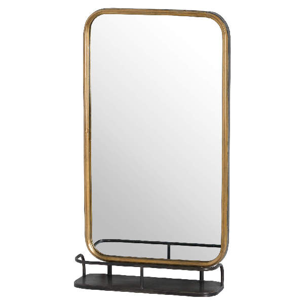 Antique Gold Industrial Curved Mirror With Shelf