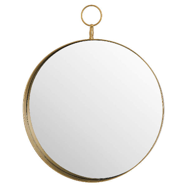 Antique Gold Large Circular Mirror With Decorative Loop