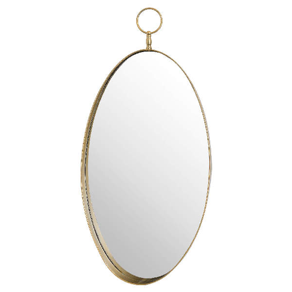 Antique Gold Oval Mirror With Decorative Loop