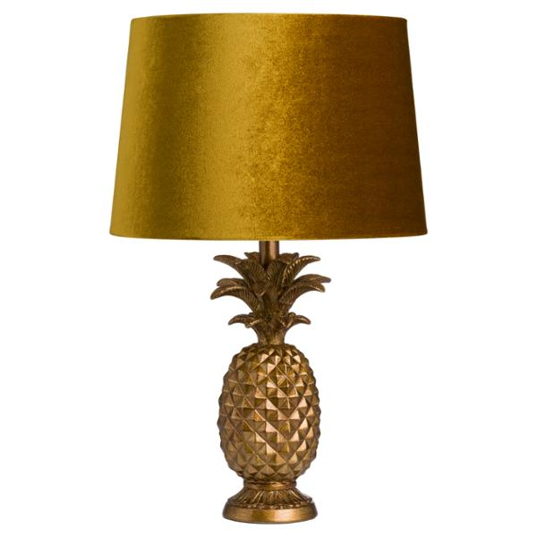Antique Gold Pineapple Lamp With Mustard Velvet Shade