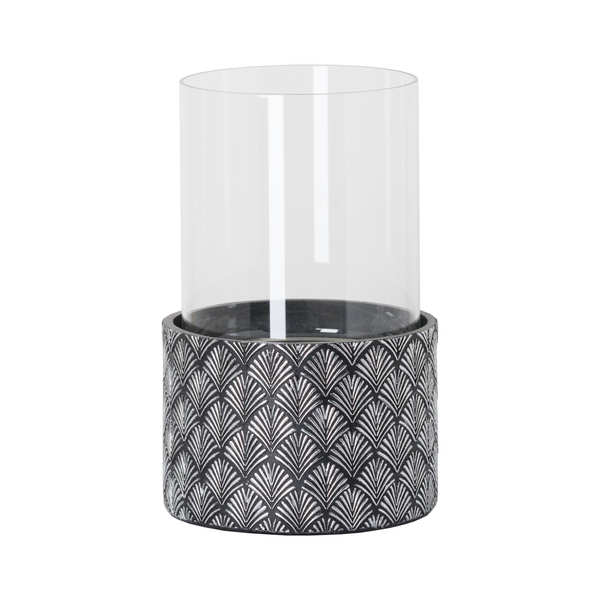 Art Deco Swirl Black and Silver Tall Candle Holder