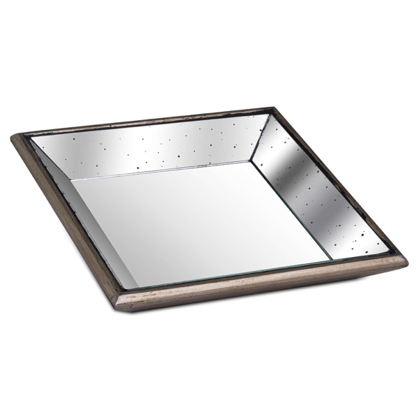 Astor Distressed Mirrored Square Tray W/Wooden Detailing Sml