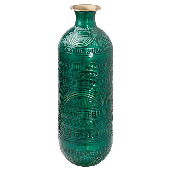 Aztec Collection Brass Embossed Ceramic Dipped Lebes Vase