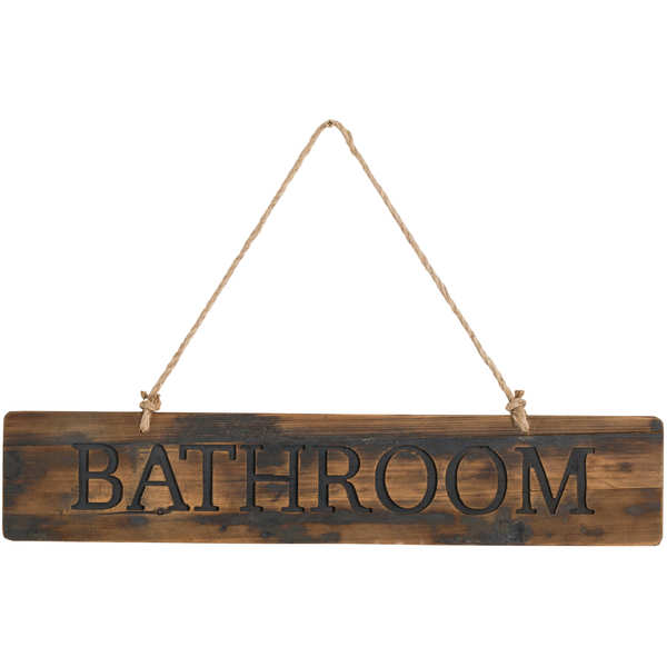Bathroom Rustic Wooden Message Plaque