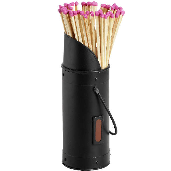 Black Matchstick Holder with 60 Matches
