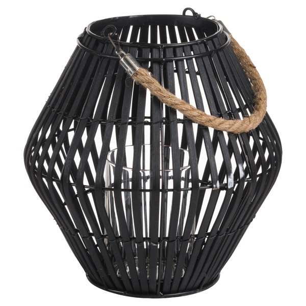 Black Rattan Small Convex Lantern
