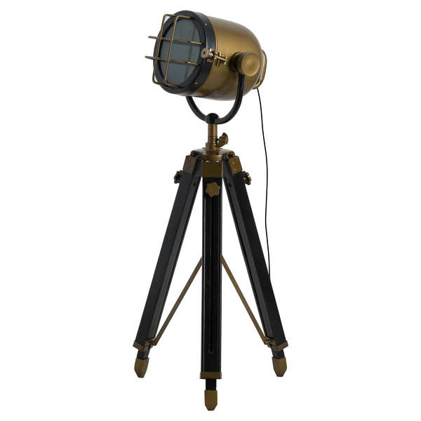 Brass And Black Industrial Spotlight Tripod Lamp