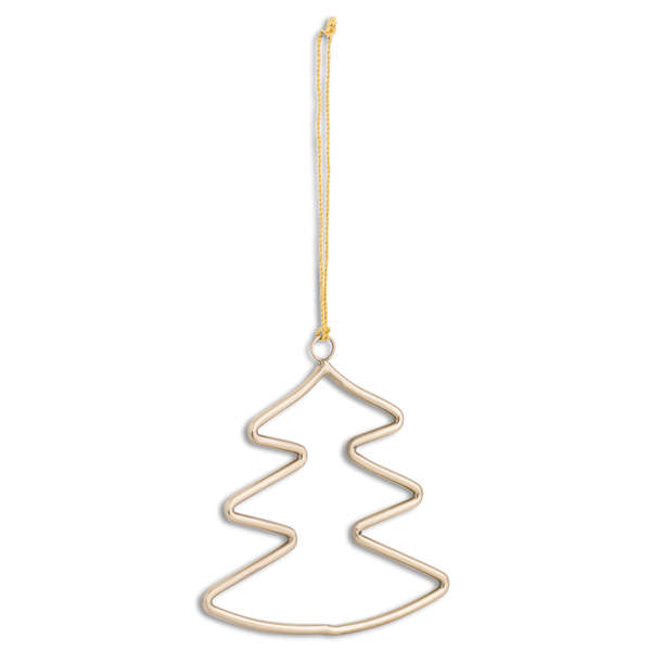 Brass Hanging Christmas Tree Silhouette Decoration