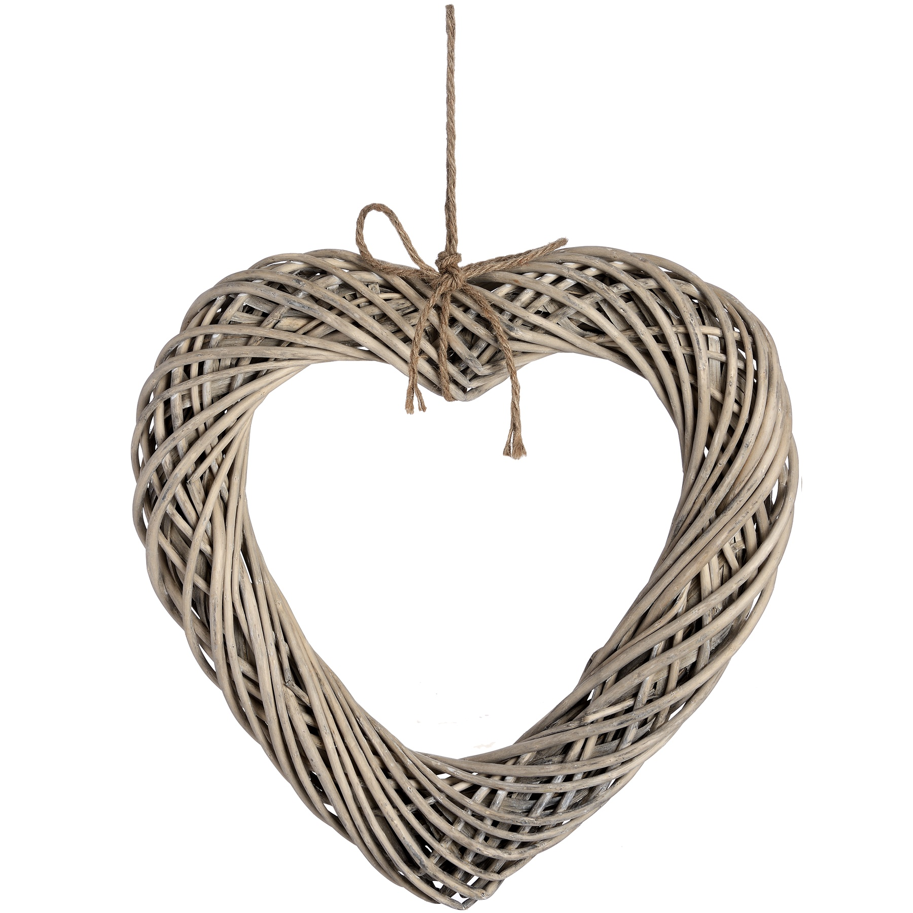 Brown Large Wicker Hanging Heart with Rope Detail