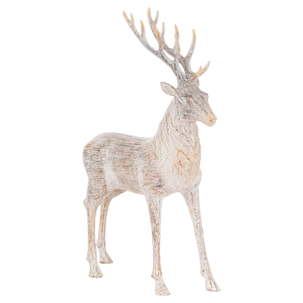 Carved Wood Effect Standing Stag