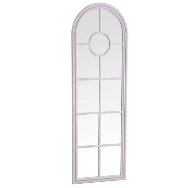 Caselotti Mirror Collection Narrow Arched Window Mirror Grey