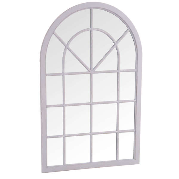 Caselotti Mirror Collection Small Arched Window Mirror Grey