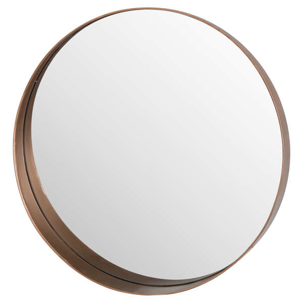Circular Copper Finish Mirror With Protruding Edge