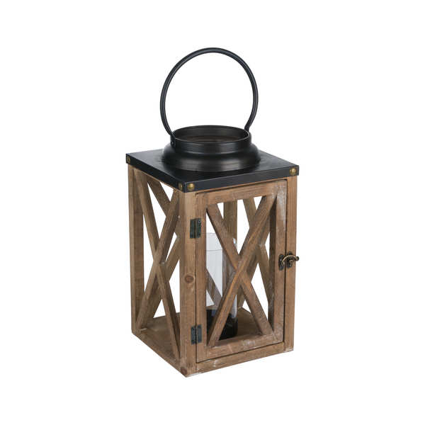 Cross Style Wooden Lantern With Stud Detail