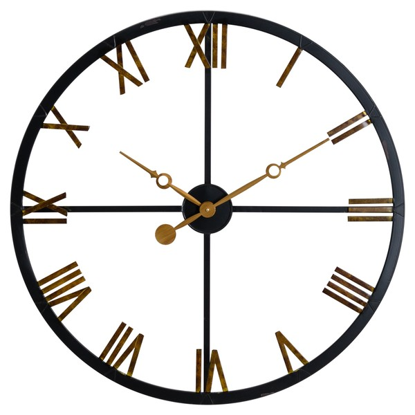 Distressed Black And Gold Skeleton Station Wall Clock