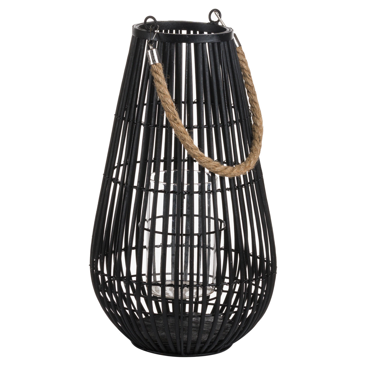Domed Rattan Lantern With Rope Detail