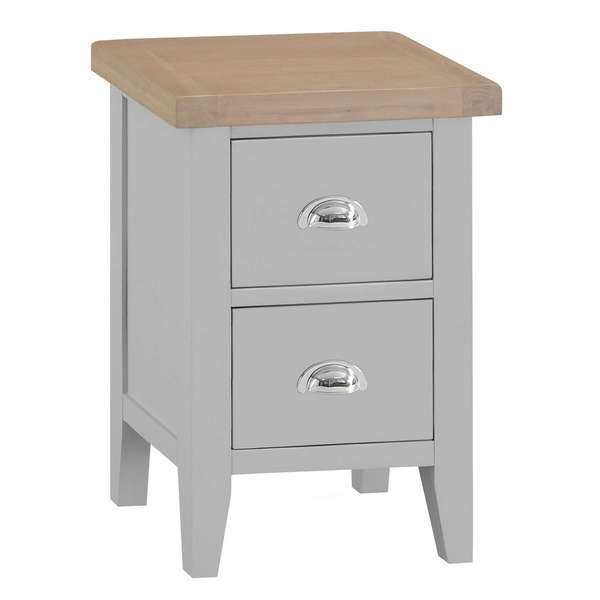 Easby Collection Grey 2 Drawer Bedside Table