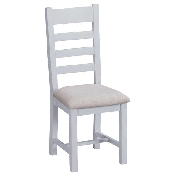 Easby Collection Grey Upholstered Ladder Back Chair