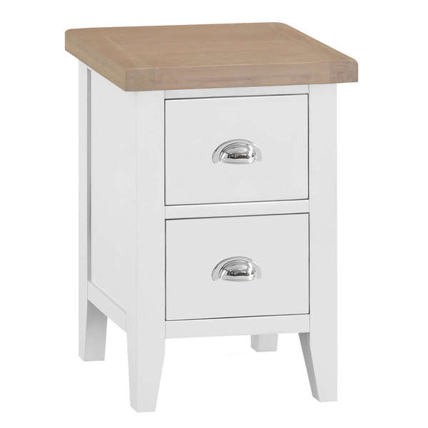 Easby Collection White 2 Drawer Bedside Table