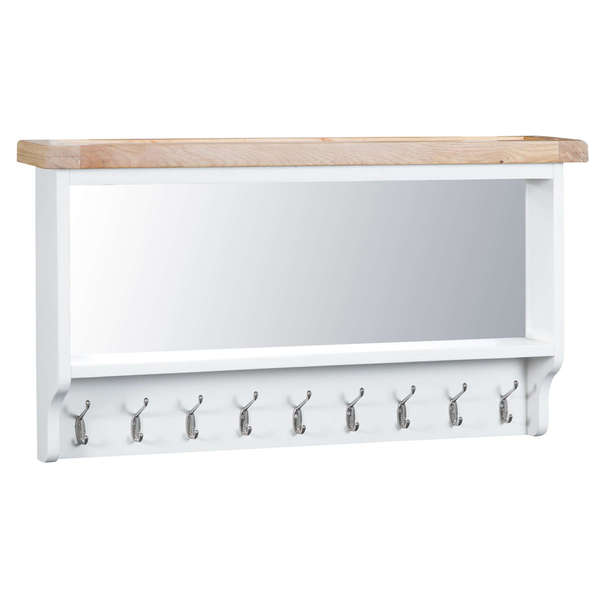 Easby Collection White Coat Rack with Mirror