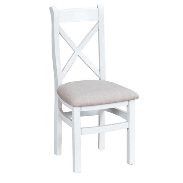 Easby Collection White Upholstered Cross Back Chair