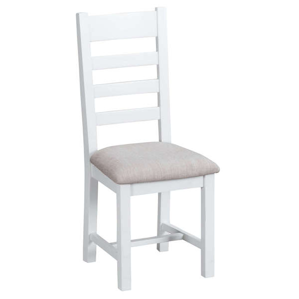 Easby Collection White Upholstered Ladder Back Chair