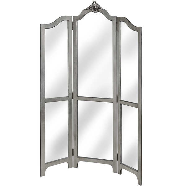 Estelle Collection Silver Leaf Three Panel Mirrored Room Div