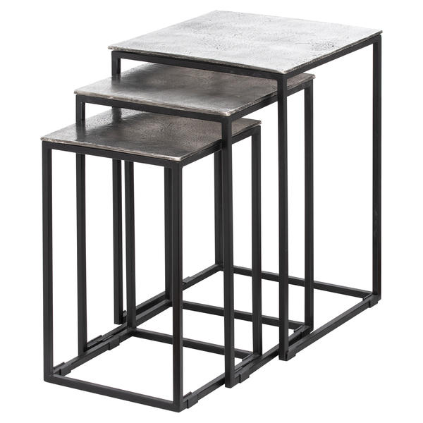 Farrah Collection Silver Nest Of Three Tables