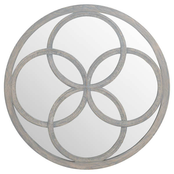 Flower of Life Grey Painted Mirror 90 x 90 cm