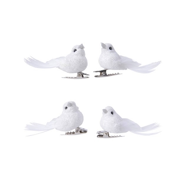 Four Feathered Glitter Birds with Clip