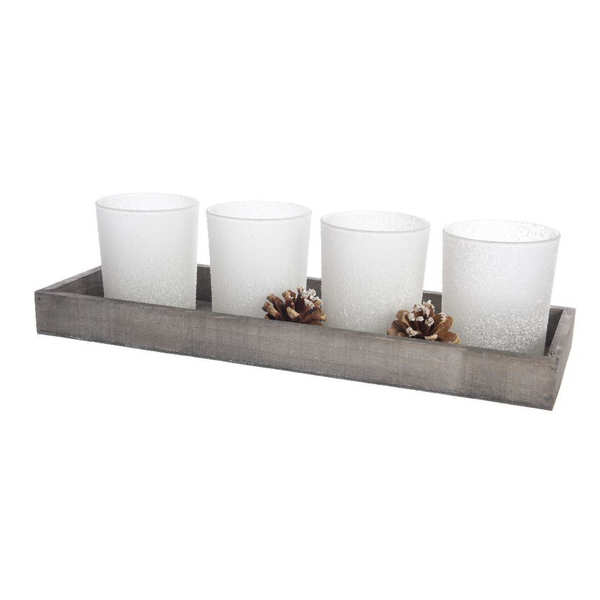 Four Glass Tealight Holders with Snow Finish on Wooden Tray