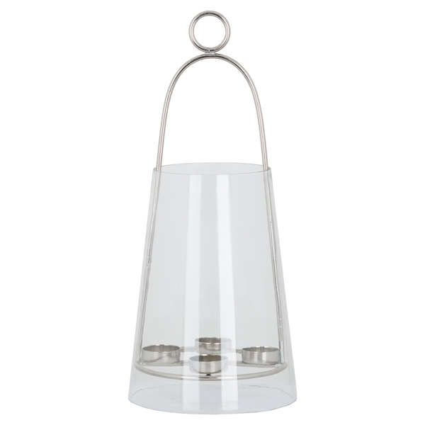 Four Tealight Lantern With Nickel Detailing