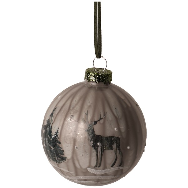 Glass Marbled Bauble With Reindeer Scenery