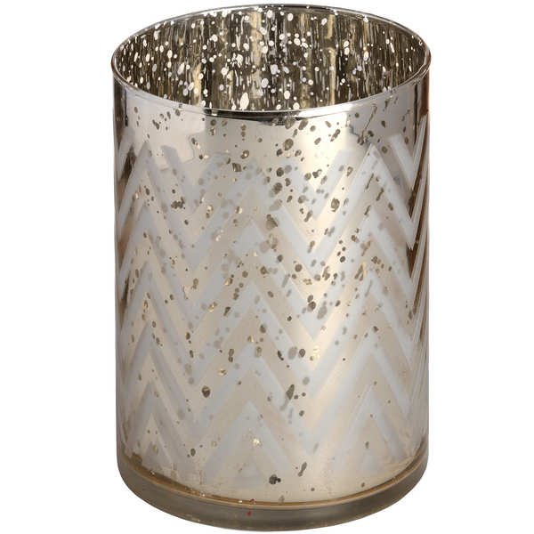 Gold Glass Chevron Tealight Holder in Speckle Effect