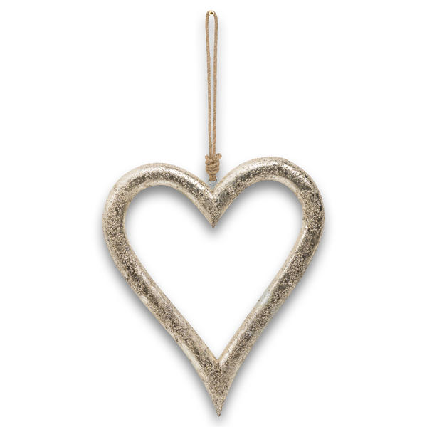 Gold Wooden Heart Hanging Decoration