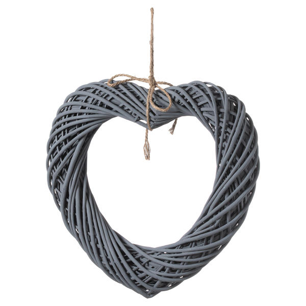 Grey Large Wicker Hanging Heart With Rope Detail