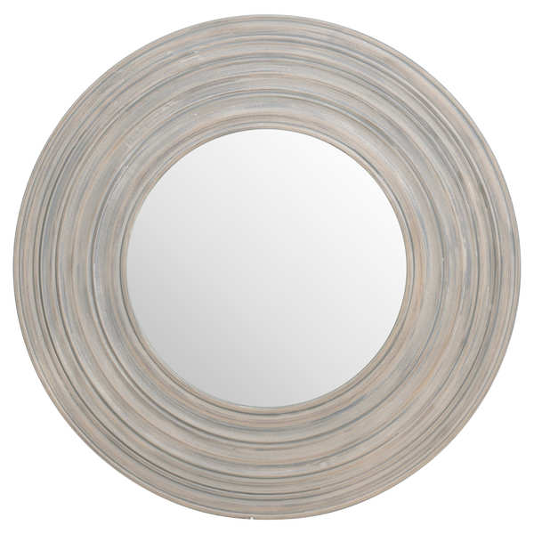 Grey Painted Round Ribbed Mirror 91 x 91 cm
