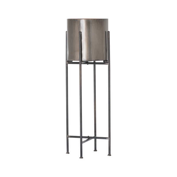 Gun Metal Grey Cylindrical Planter On Black Frame