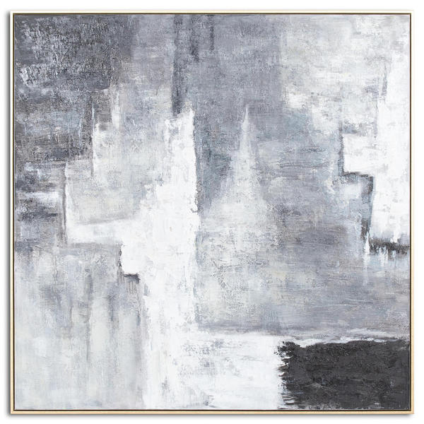 Hand Painted Black And White Layered Abstract Painting