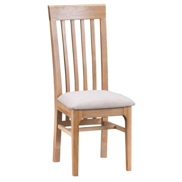 Harlow Collection Slat Back Chair with Fabric Seat