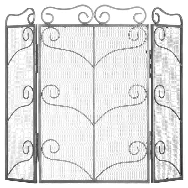 Heavy Large Antique Silver Fire Screen