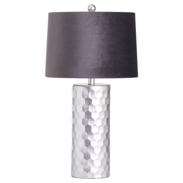 Honey Comb Silver Table Lamp With Grey Velvet Shade