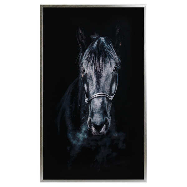 Horse Glass Image With Silver Frame