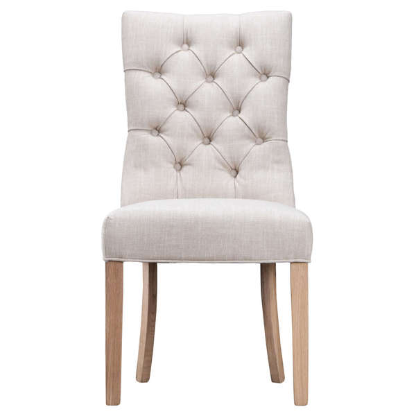 Jervaulx Chair Collection Curved Button Back Chair Beige