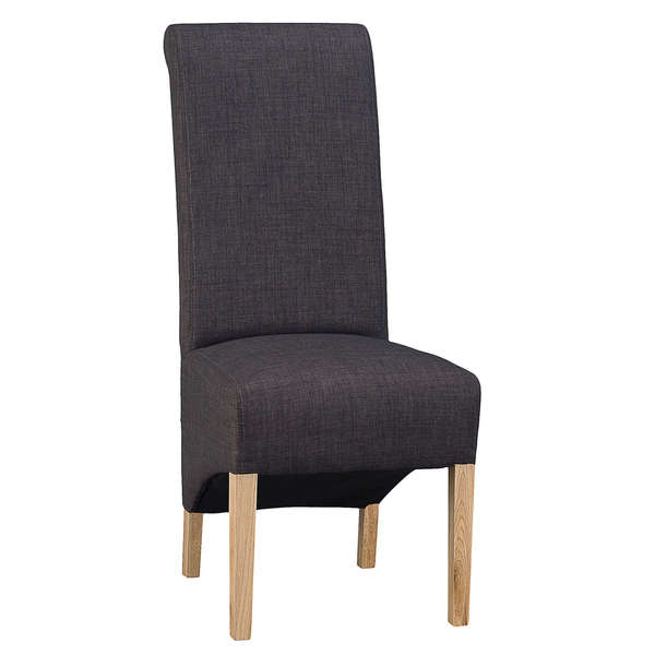 Jervaulx Chair Collection Scroll Back Chair Plain Charcoal